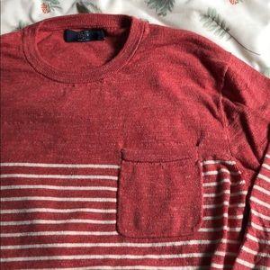 J. Crew men's red stripes sweater cotton XL